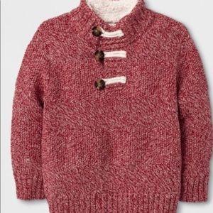 Cat & Jack shawl faux fur collar pullover sweater